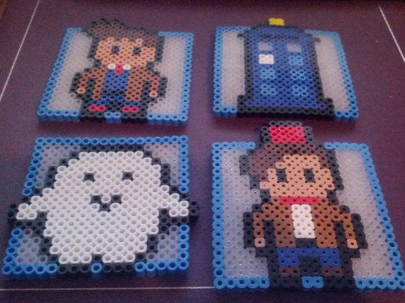 Doctor Who Coasters Made Out Of Perler From Breezybeadz On