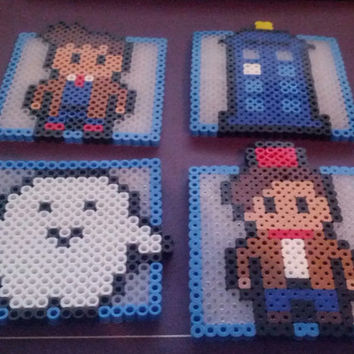 Doctor Who Coasters made out of Perler Beads set of 4