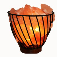 Manhattan Comfort 7 Himalayan Wired Basket Lamp 3.0 with Natural Rocks with dimmer