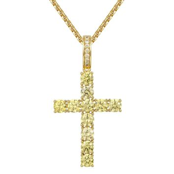 Canary Solitaire Cross Pendant Set Tennis Chain