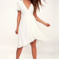 Rise to the Occasion White Midi Wrap Dress