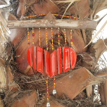 VALENTINE'S DAYSale Red heart wind chimes handmade by dalitglass
