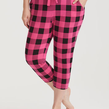 Pink & Black Crop Checkered Sleep Pant