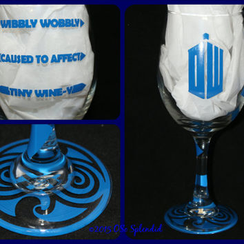 Doctor Who Inspired Wibbly Wobbly Timey Wimey Custom 20 oz Wine Glass - Easy Day - Rough Day - Don't Even Ask!