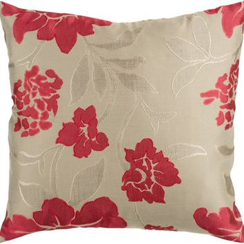 Blossom Throw Pillow Brown, Red