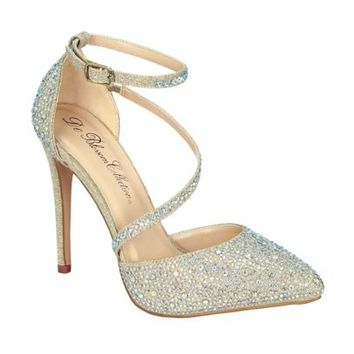 Rhinestone Pointy Toe Heels with Diagonal Strap - Davids Bridal