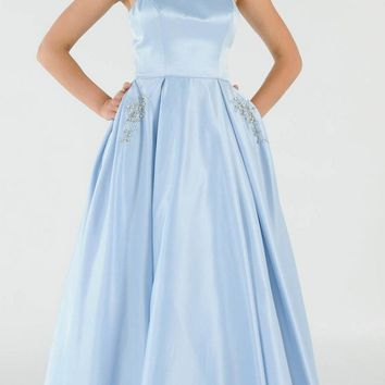 Blue Long Satin Prom Dress Halter Spaghetti Strap with Pockets