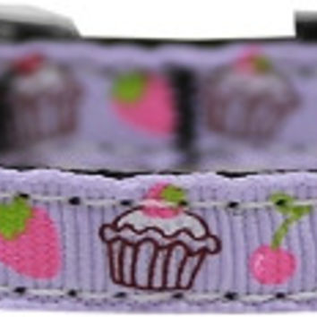 """Cupcakes Nylon Dog Collar with classic buckle 3/8"""" Purple Size 12"""