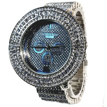 Techno King Mens Elite XL Silver Finish Aqua Blue Lab Diamonds Mens Dress Watch Silver Face Watch Metal Band Bling