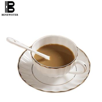 200ml White Ceramic Bone China Pumpkin Gold Painted Coffee Cup with Saucer Kit for Water Milk Tea Mug Cup Drinkware with Spoon