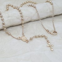 """1-3325-h2 Gold Plated Rosary Necklace. Virgin Mary, 18"""", 3mm."""