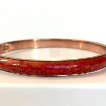 Vintage Matisse Enamel Copper Bracelet, Signed Renoir Red Enameled Bangle, Mid Century Bracelet Modernist Bracelet, 50s 1950s Estate Jewelry