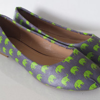 Elephant shoes. elephant print fabric covered pumps. handmade and unique funky flats shoes
