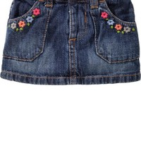 Flower Embroidered Denim Skirts for Baby