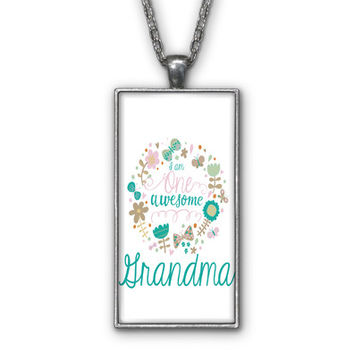 One Awesome Grandma White Pendant Necklace Jewelry