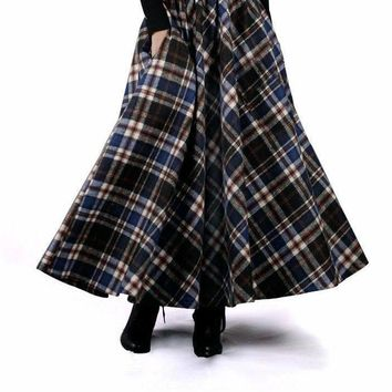 Autumn Winter Women Skirt 50s Vintage and Retro Wool Maxi Elastic Waist Plaid Classical Thick Warm Saias Longa