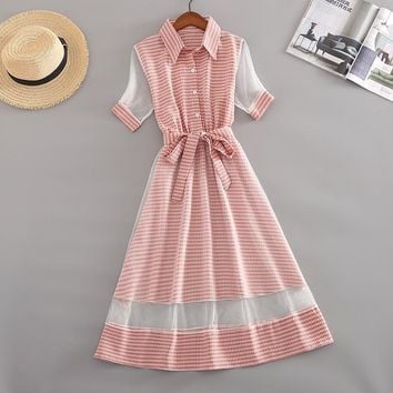Harajuku Japanese Midi Shirt Dress Women Fashion Mesh Patchwork Slim Short Sleeve Sweet Bandage Female Tulle Dresses With Belt