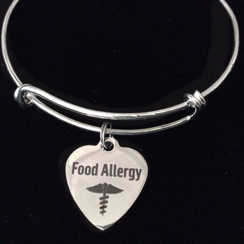 Food Allergy Silver Expandable Charm Bracelet Adjustable Bangle Gift Alert Jewelry