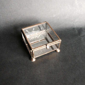 Glass Jewelry Box | Square Glass Box | Miniature Terrarium Box | Glass Ring Box