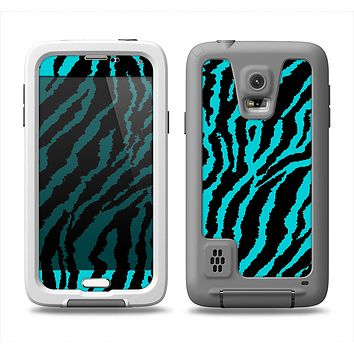 The Vector Teal Zebra Print Samsung Galaxy S5 LifeProof Fre Case Skin Set