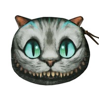 Cheshire Cat Coin Purse Animal Prints Coin Wallet Women Zipper Case Children Cute Wallet Ladies Makeup Buggy Bag Coin Pouch