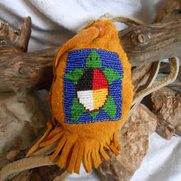 Custom Made to Order Hand Beaded Medicine Bag, Sacred Medicine Wheel Turtle Design, Hand Sewn, Native American by Lakota Artisan