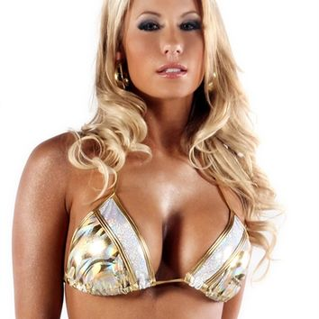 Bodyzone Gold Metallic Lux Bikini Top : Girls Rave Clothing from RaveReady