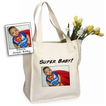 Custom Baby Photo Tote Bag by Tote Tails