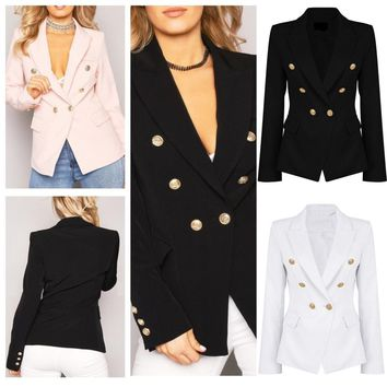 Double Front Military Style Coat Jacket
