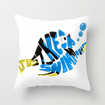 """just keep swimming"" (Finding Nemo- Dory) Throw Pillow by Art of Fernie 
