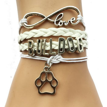 Eernity Love Bulldog Dog Breeds Paw Bracelet- Best Friend Gift for Pet Tiger Paw Print Charm Lover 3 Colors