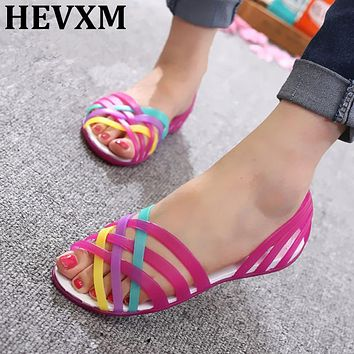 HEVXM Women Sandals Bohemian  Summer New Candy Color Peep Toe Beach Valentine Rainbow Jelly Shoes Woman Wedges Sandals
