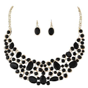 Jewelry Women Gold Plated Diamond Jewelry Set Party Necklace Earrings Set BK
