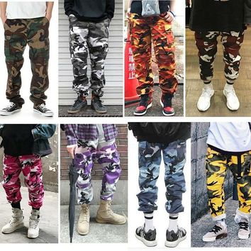 2017 NEW Best Version Men women Pink purple camouflage overalls pants kanye west hiphop Fashion Casual pants 7 color XS-XXL