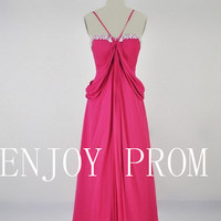A-line  Spaghetti Straps Chiffon floor-Length Bridesmaid/Evening/Prom Dress