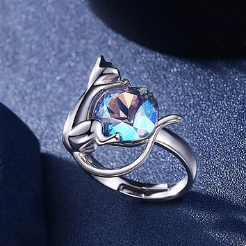 925 Sterling Silver Unique Casual Rings Blue Swarovski Crystal Cat Ring