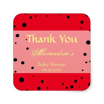 Fun Ladybug Baby Shower Party Favors Thank You Square Sticker