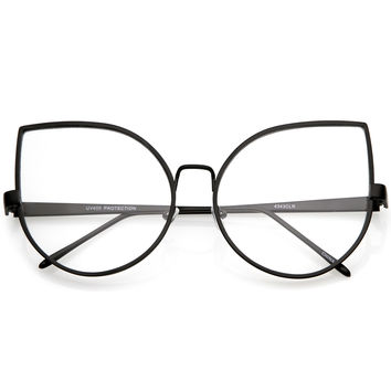 Women's Oversize Modern Clear Flat Lens Cat Eye Glasses C337