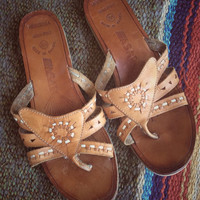 Boho leather flip flops/ vintage made in Brazil ASAP tan flip flops/ woven leather sandals size 8