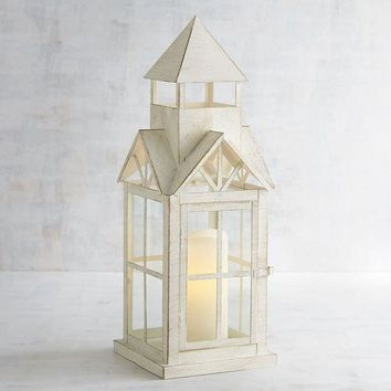 White Metal Boho House Lantern