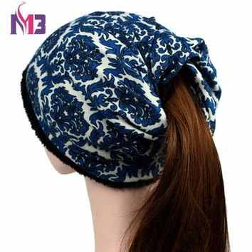 2017 Winter Women Casual Beanies Hat Thick Plush Warmer Girls Lady Hat Tail Soft Stretch Cable Knit Messy High Bun Ponytail Cap