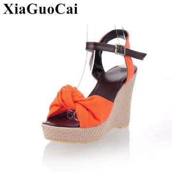Summer Sandals Women Shoes Europe Style High Wedges Heel Peep Toe Pu Leather Casual Shoes Aniskid Platform Sweet Sandals H102 35