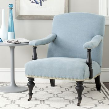 Safavieh Devona Light Blue Linen Arm Chair