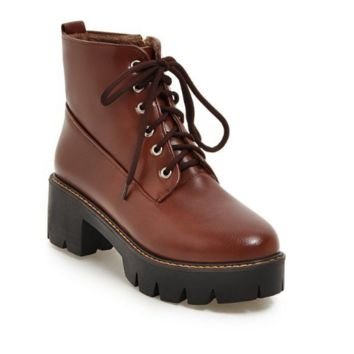 Round Toe Lace Up Ankle Boots Women Shoes Fall|Winter