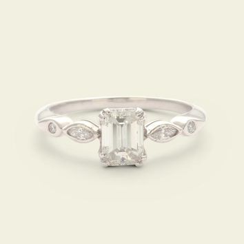 Vintage 1ct Emerald Cut Diamond Ring with Marquise and Round Cut Accen | Erica Weiner