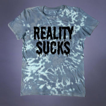 Reality Sucks Slogan Tee Depressed Creepy Cute Emo Soft Grunge 90's Alternative T-shirt