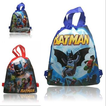 2Pcs Fashion Super Hero Kids Boys Drawstring Backpacks 34*27cm School Bags,Children Party Bags,Novelty Gifts