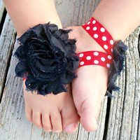 Baby Barefoot Sandals .. Navy Flowers on Red and White Elastic .. Toddler Sandals .. Newborn Sandals