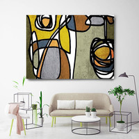 """Vibrant Colorful Abstract-60. Mid-Century Modern Green Brown Canvas Art Print, Mid Century Modern Canvas Art Print up to 72"""" by Irena Orlov"""