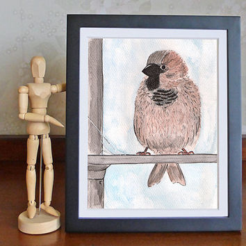 Ink and watercolour drawing of a sparrow, little bird painting, original art, free shipping